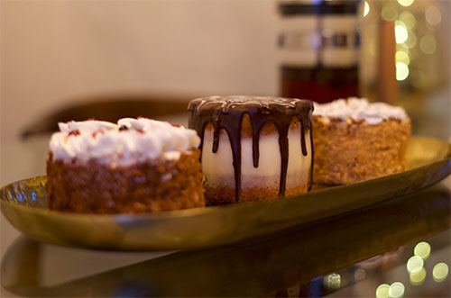 Mini-cakes made for cup of coffee or tea.